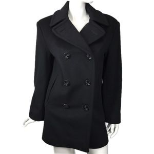 Steve by Searle Black Pea Coat